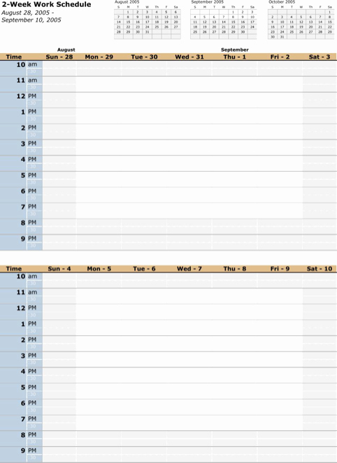 Bi Weekly Schedule Template Beautiful Download Work Schedule Template for Free formtemplate