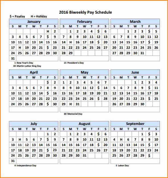 Bi Weekly Schedule Template Best Of 11 2016 Bi Weekly Payroll Calendar