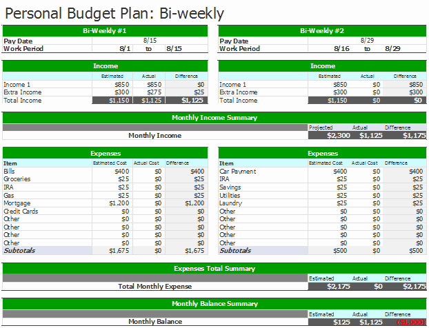 Bi Weekly Schedule Template Elegant Document Templates 3 Free Spreadsheet Bi Weekly Bud