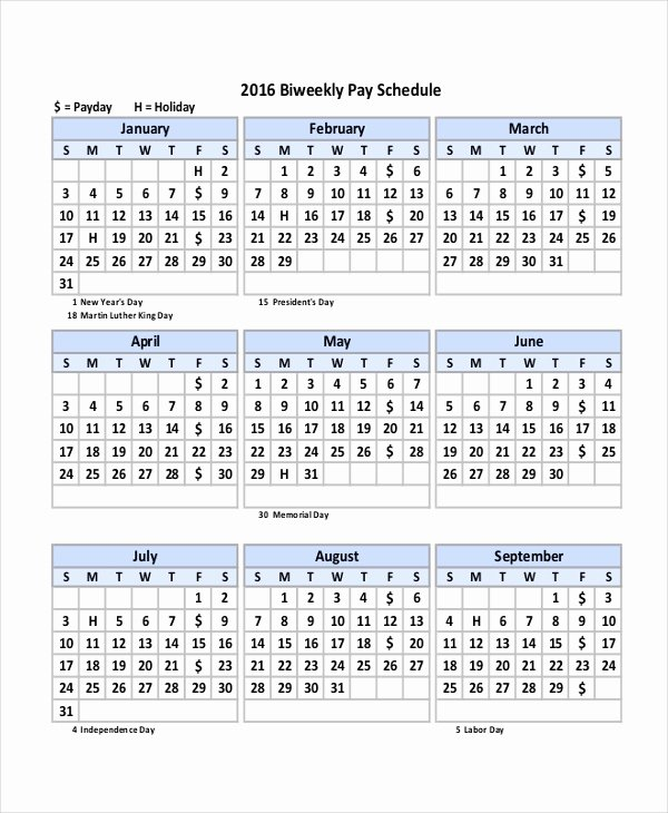 Bi Weekly Schedule Template Elegant Payroll Calendar Template 10 Free Excel Pdf Document
