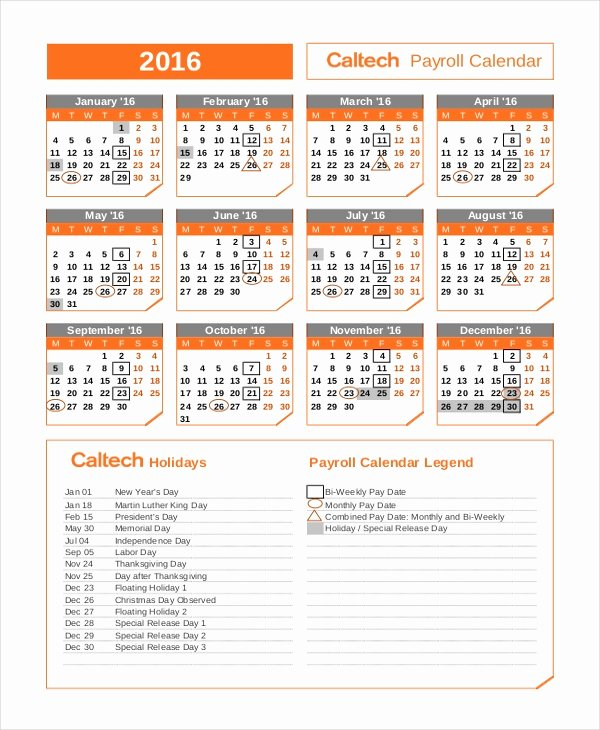Bi Weekly Schedule Template Inspirational Payroll Calendar Template 10 Free Excel Pdf Document