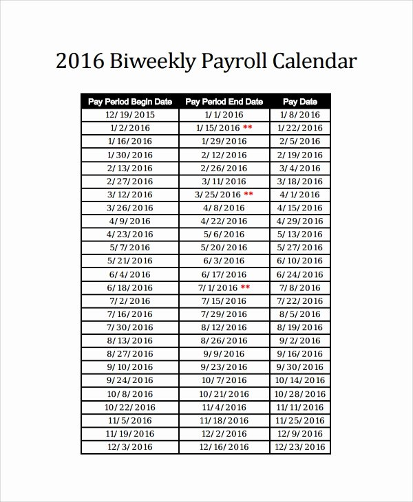Bi Weekly Schedule Template Lovely Sample Payroll Calendar Template 9 Free Documents