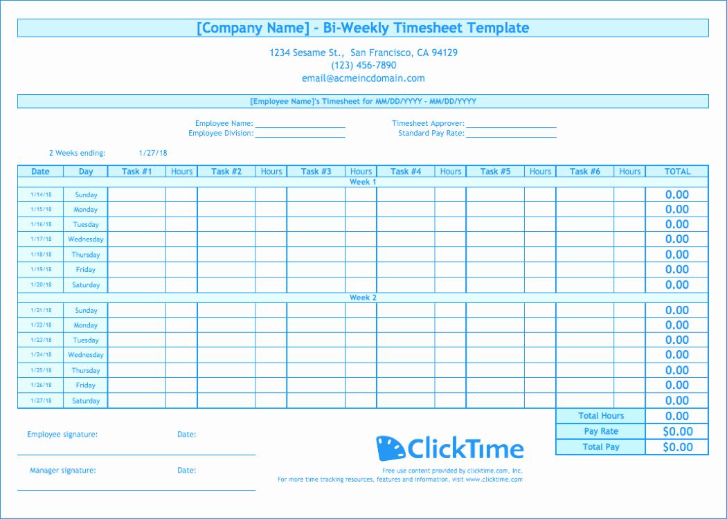 Bi Weekly Work Schedule Template Elegant Biweekly Timesheet Template Free Excel Templates