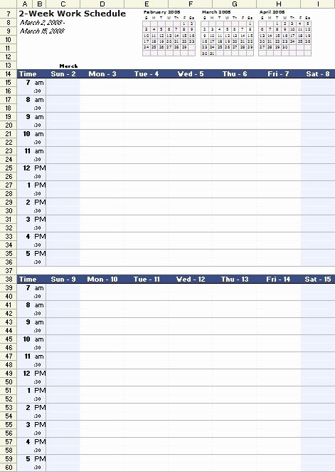 Bi Weekly Work Schedule Template Fresh A Free Bi Weekly Work Schedule Template for Excel at