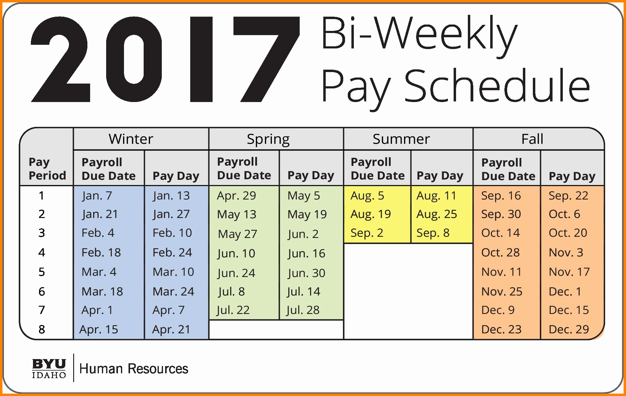 Bi Weekly Work Schedule Template Unique 7 Bi Weekly Payroll Calendar