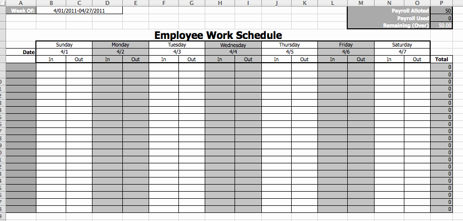 Bi Weekly Work Schedule Template Unique Work Schedule Template