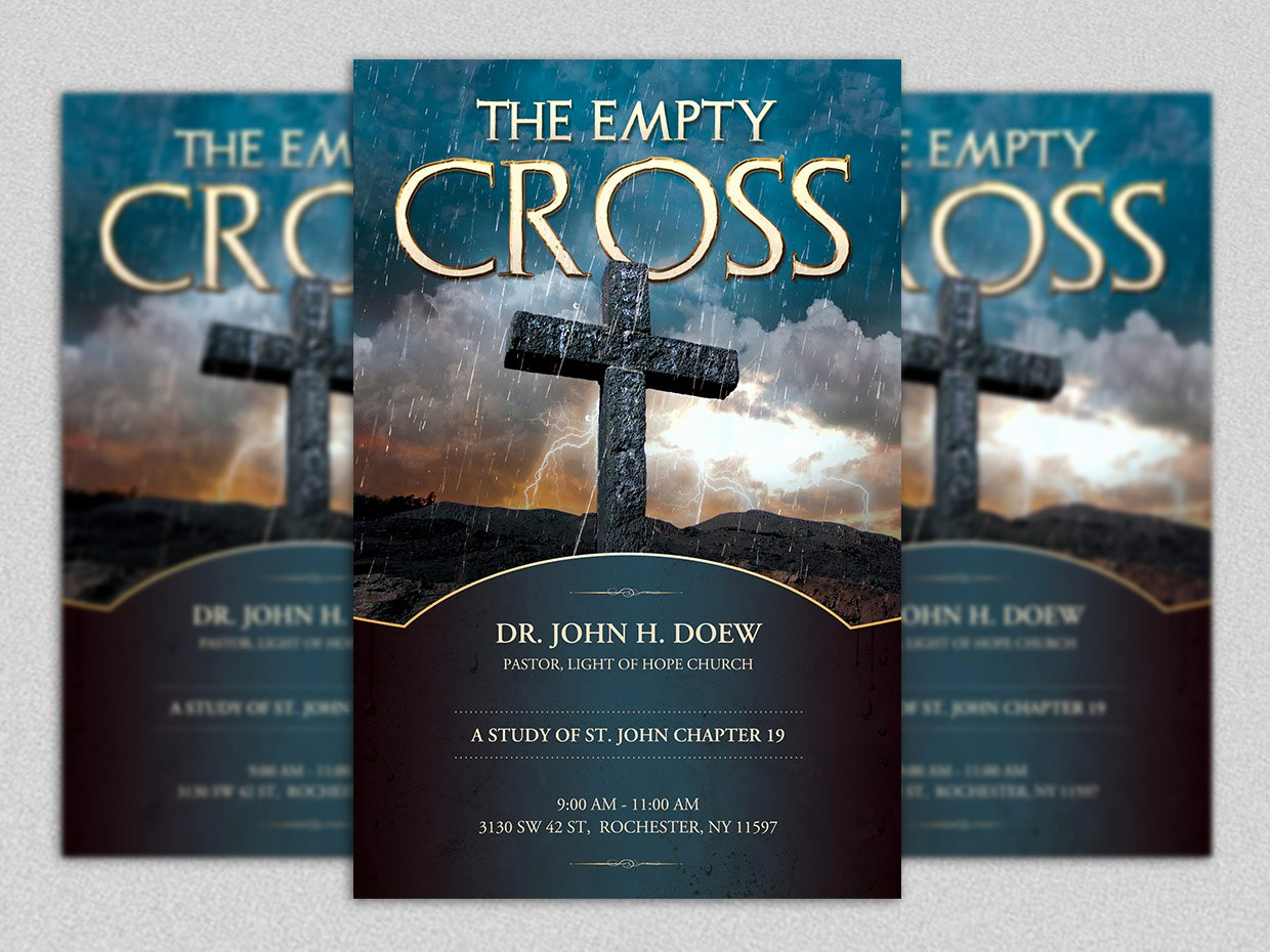 Bible Study Invitation Template Elegant Empty Cross Flyer Template Flyer Templates On Creative