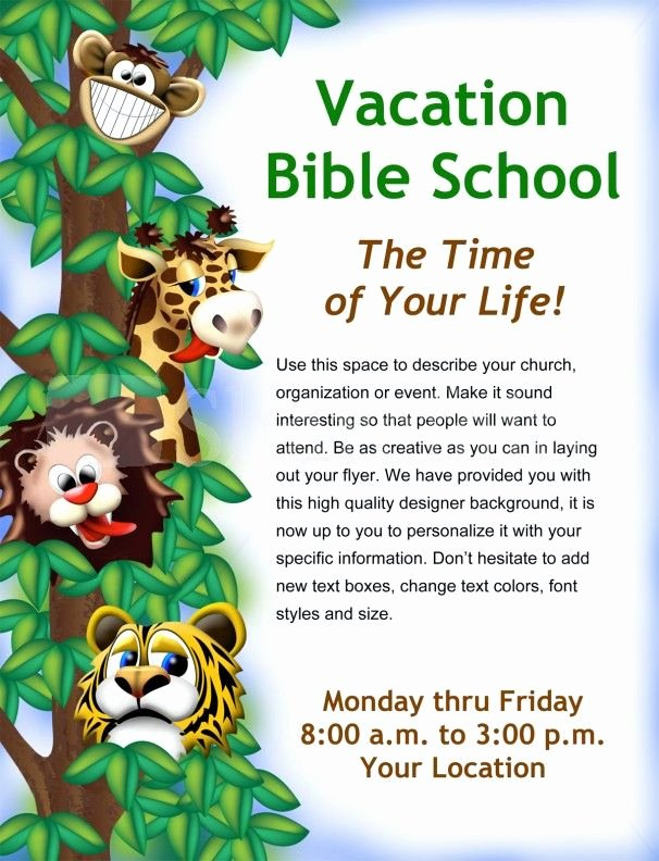 Bible Study Invitation Template Fresh Vacation Bible School Flyer Template
