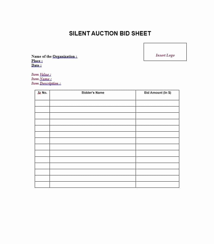 Bid form Template Free Awesome 40 Silent Auction Bid Sheet Templates [word Excel]