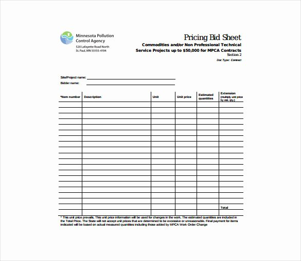 Bid form Template Free Beautiful Bid Sheet Template 14 Free Sample Example format