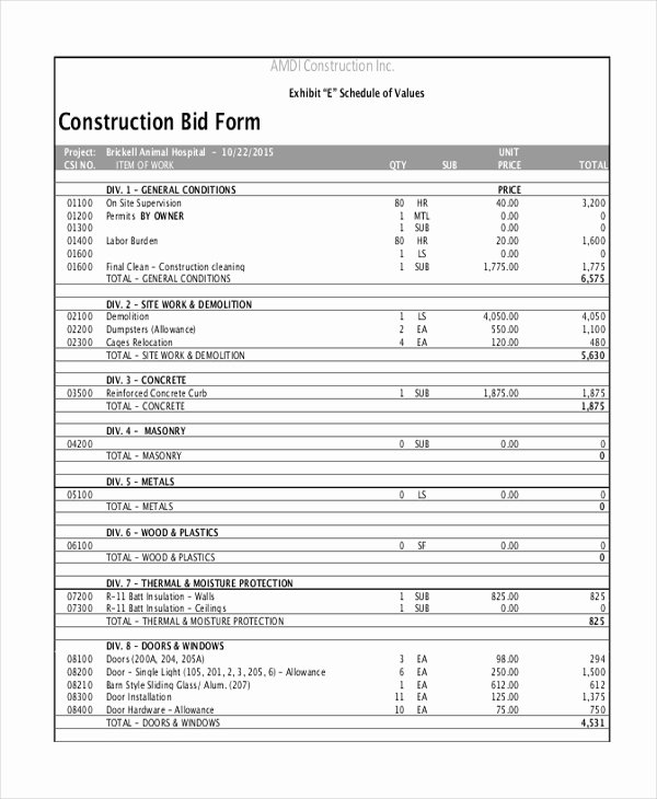 Bid form Template Free Fresh Free 21 Sample Construction forms In Pdf Excel