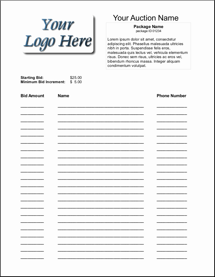 Bid form Template Free Inspirational 6 Silent Auction Bid Sheet Templates formats Examples