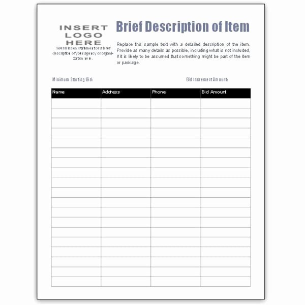 Bid form Template Free Lovely 5 Auction Bid Sheets Templates formats Examples In Word
