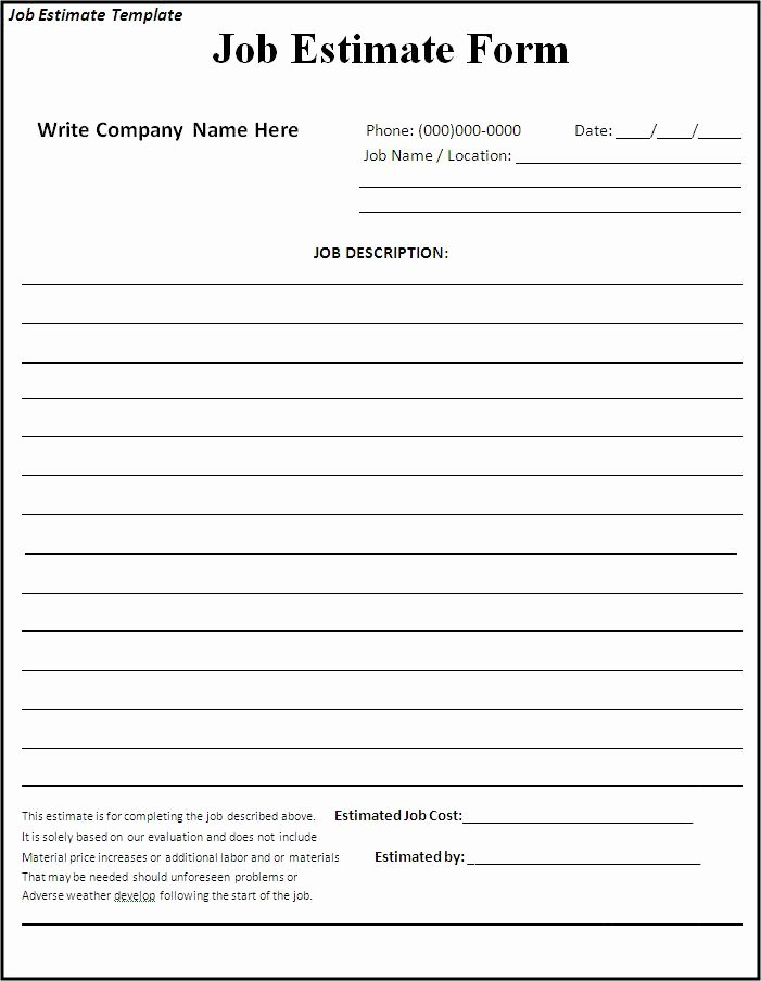 Bid form Template Free Luxury Free Printable Estimate forms