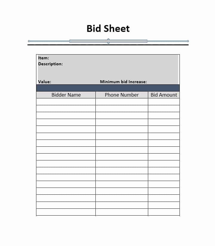 Bid form Template Free Unique 40 Silent Auction Bid Sheet Templates [word Excel]