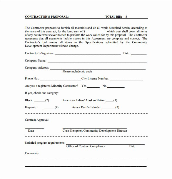 Bid form Template Free Unique Bid Proposal Template 17 Free Sample Example format