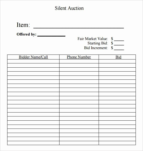 Bid form Template Free Unique Silent Auction Bid Sheet Free