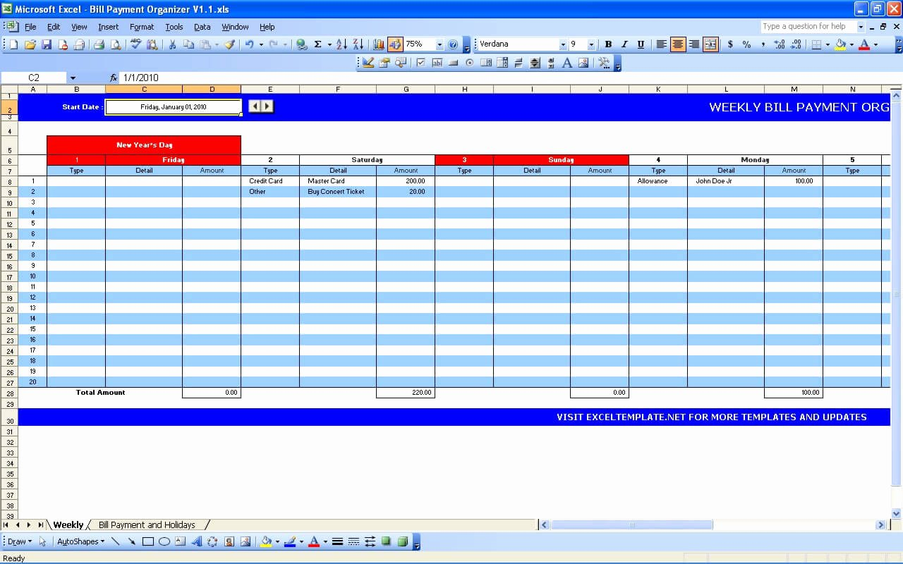 Bill Payment Schedule Template Excel Awesome Bill Payment Calendar Exceltemplate