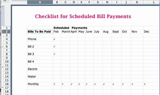 bill payment schedule templates