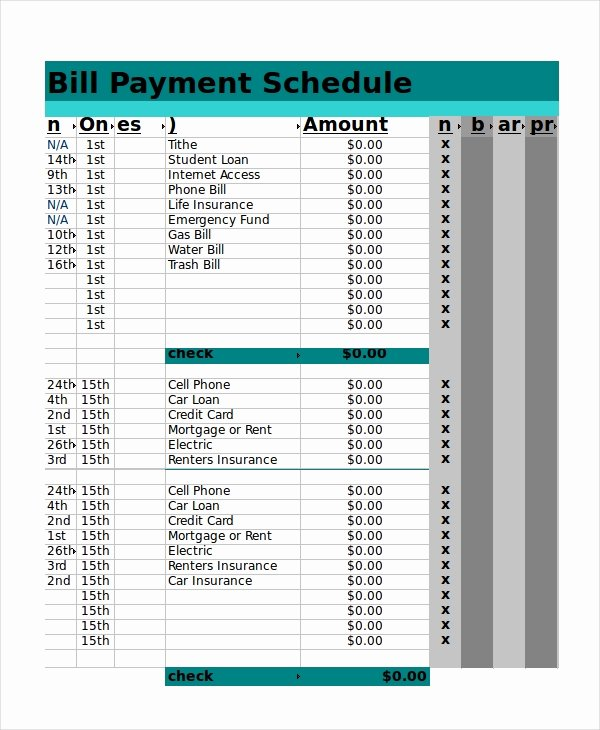 Bill Payment Schedule Template Excel Best Of Excel Schedule Template 11 Free Pdf Word Download