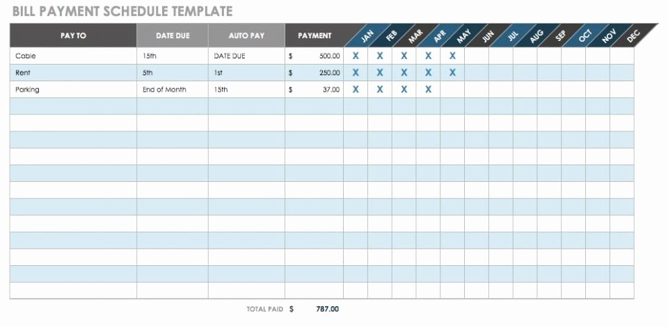 Bill Payment Schedule Template Excel New 12 Free Payment Templates