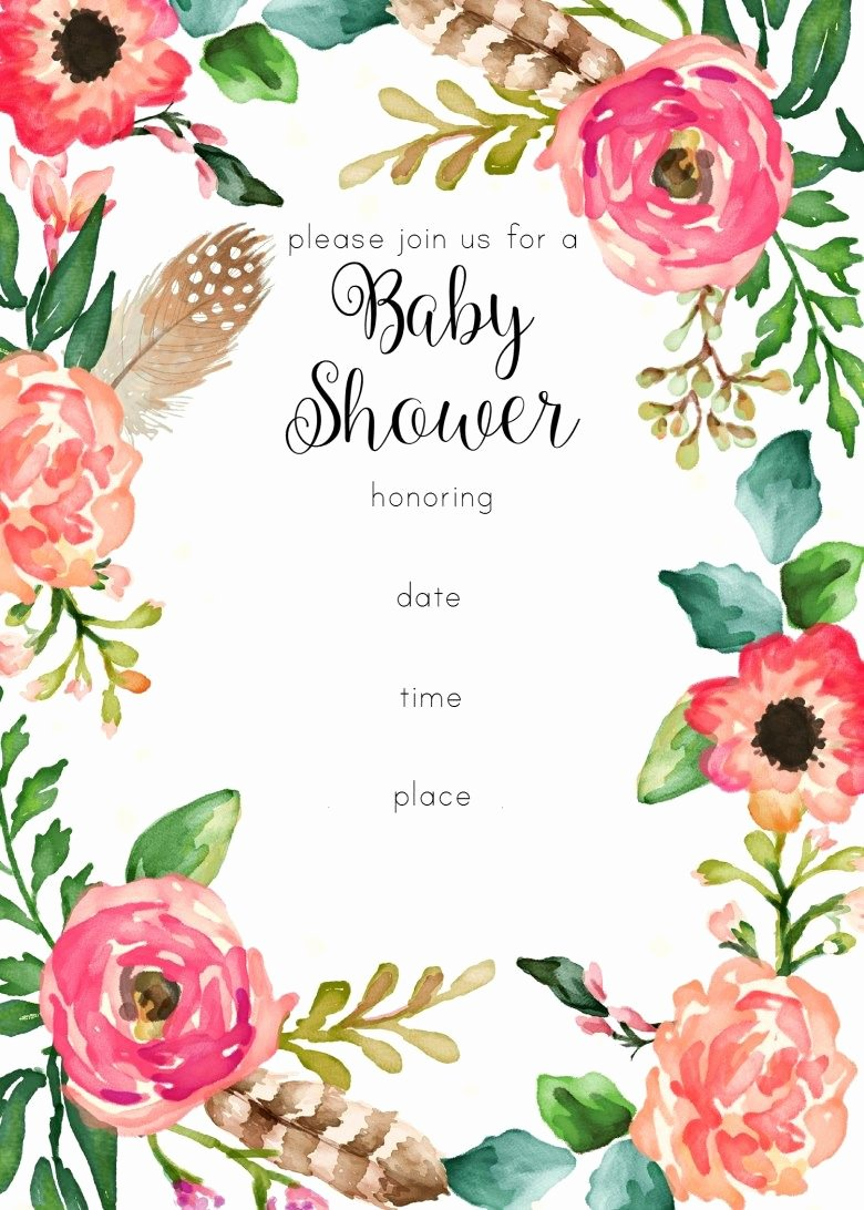 Blank Baby Shower Invitation Template Beautiful Free Printable Floral Shower Invitation