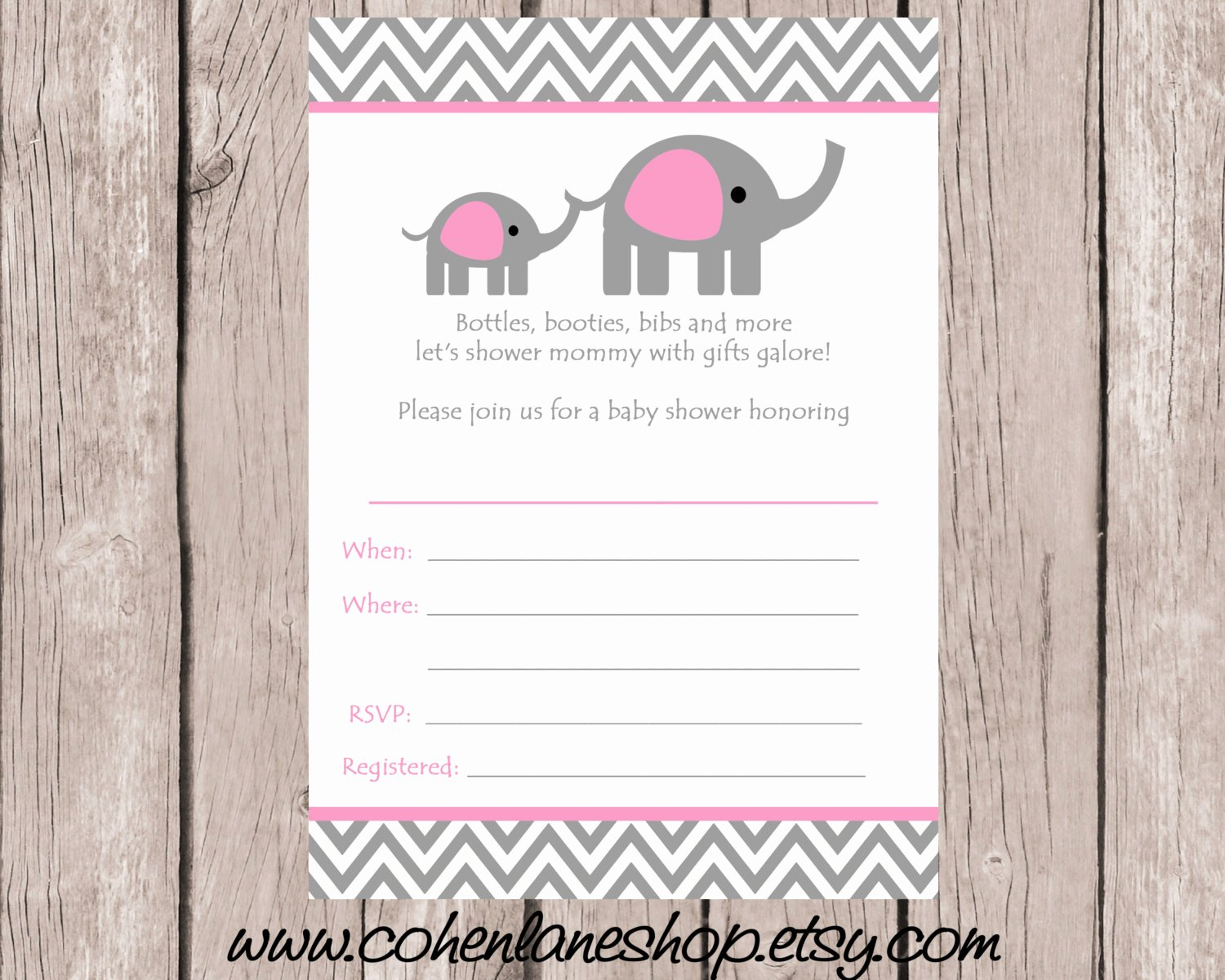Blank Baby Shower Invitation Template Fresh Instant Download Fill In Elephant Baby Shower Invitation Fill