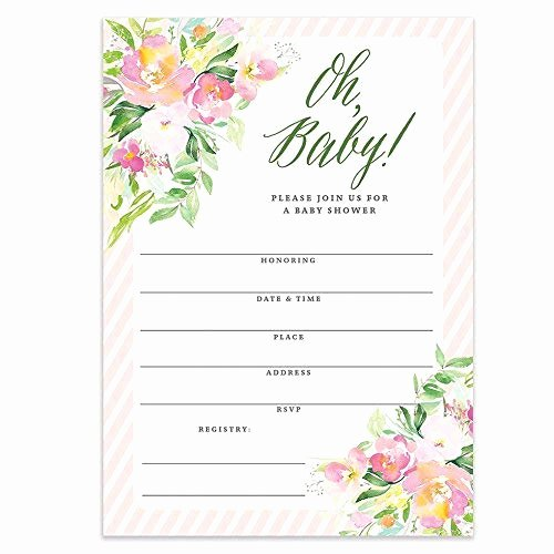 Blank Baby Shower Invitation Template Lovely Pink Borders Amazon
