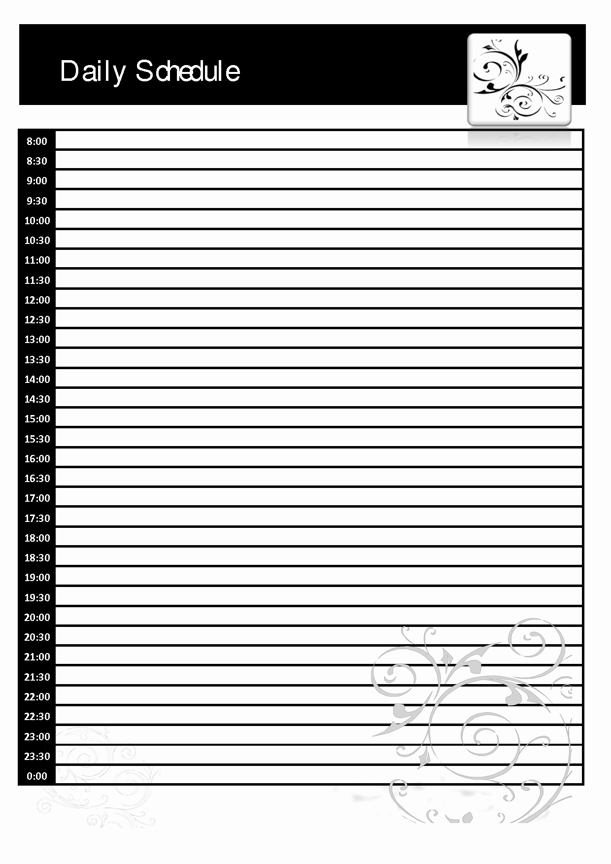 Blank Daily Schedule Template Inspirational Daily Calendar Template Blank