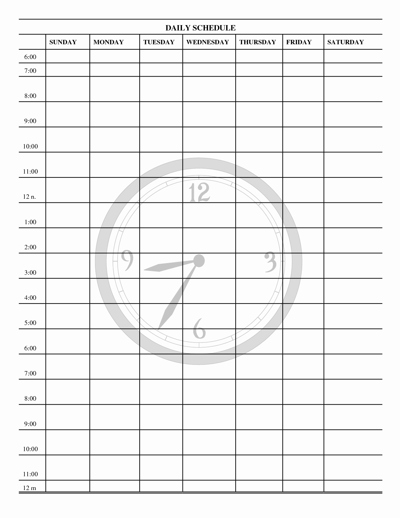 Blank Daily Schedule Template Lovely Template Printable Gallery Category Page 2
