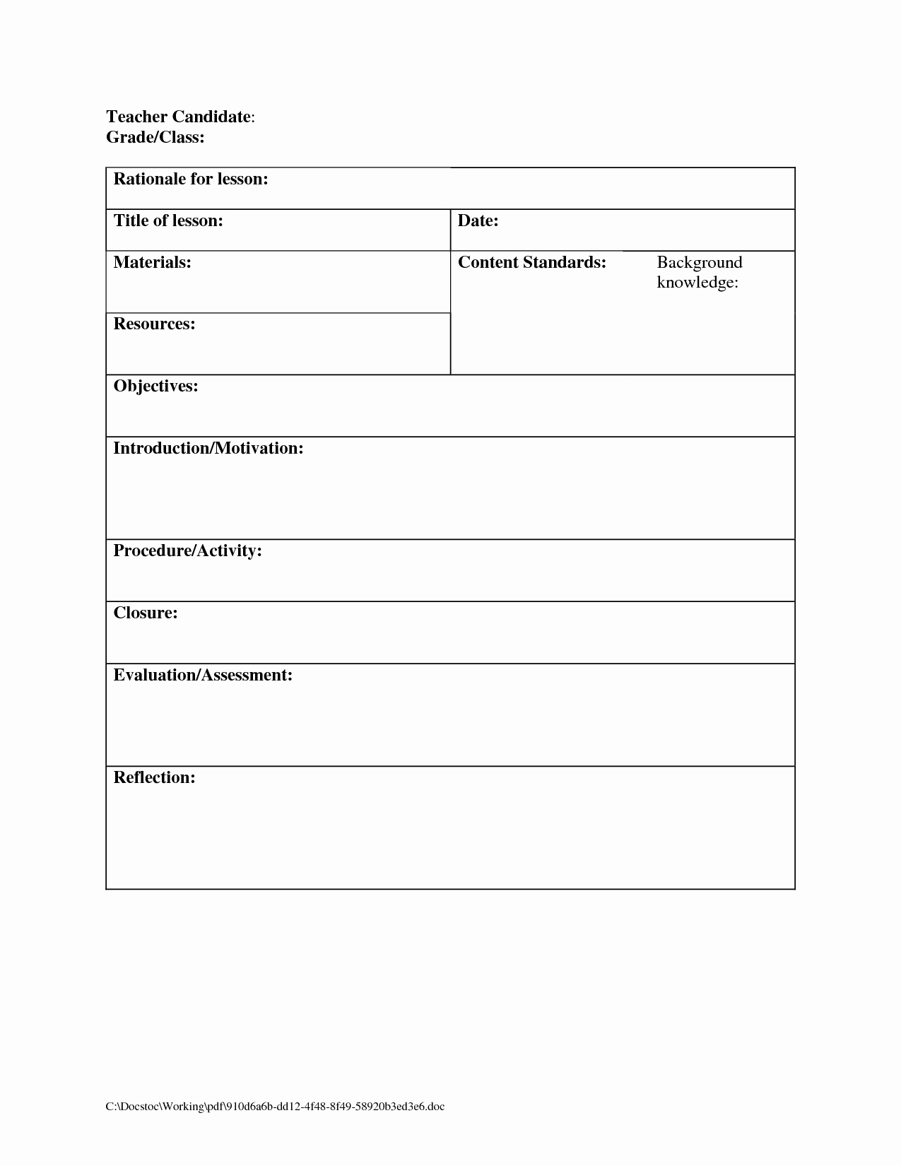Blank Lesson Plan Template Free Elegant Printable Blank Lesson Plans form for Counselors