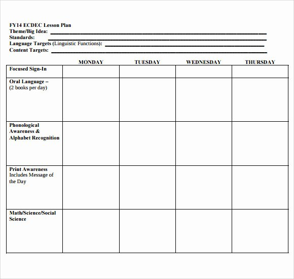Blank Lesson Plan Template Free Inspirational Blank Lesson Plan Template