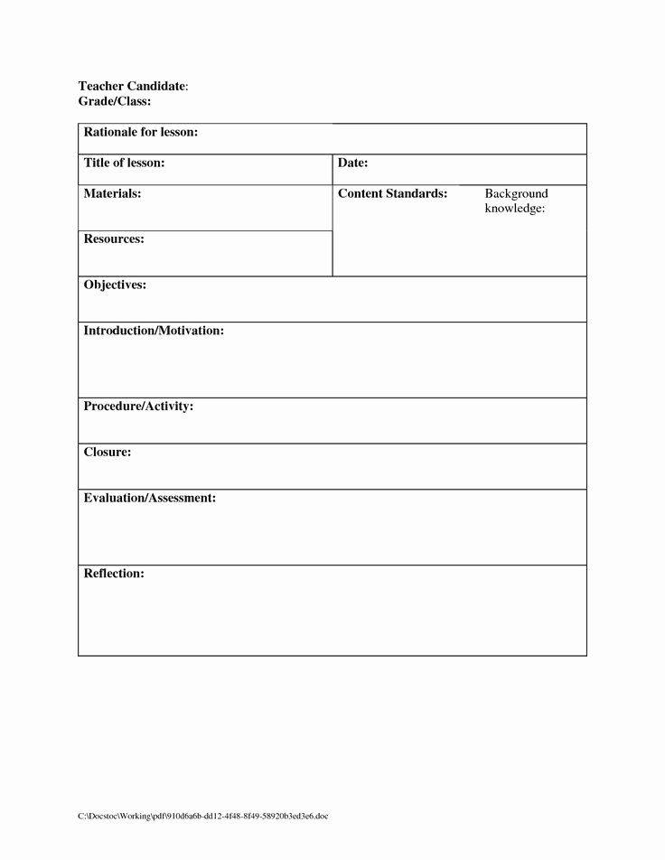 Blank Lesson Plan Template Free New Blank Lesson Plan Template