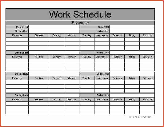 Blank Monthly Schedule Template Beautiful Monthly Work Schedule Template