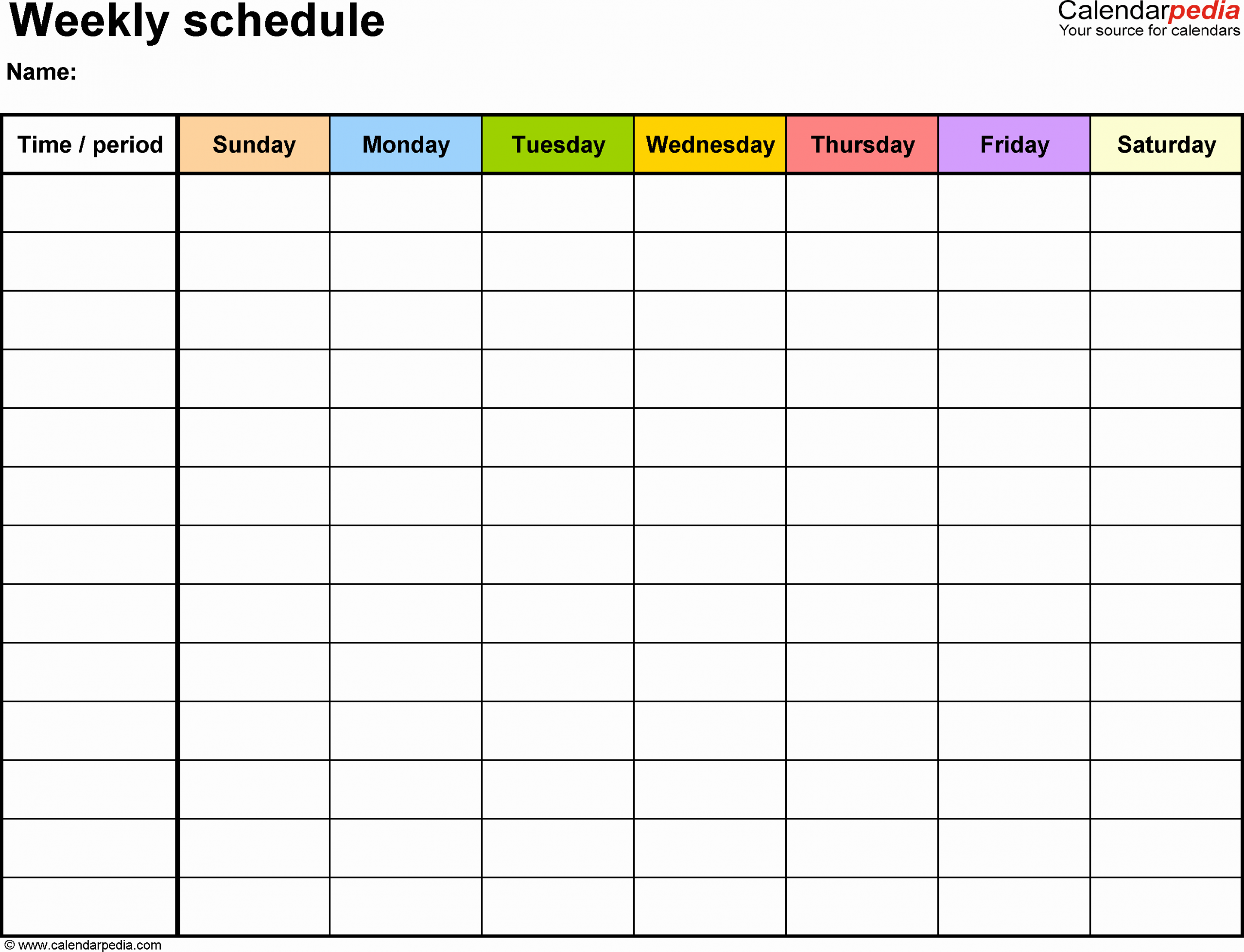Blank Monthly Schedule Template Beautiful Weekly Schedule Template for Word Version 13 Landscape 1