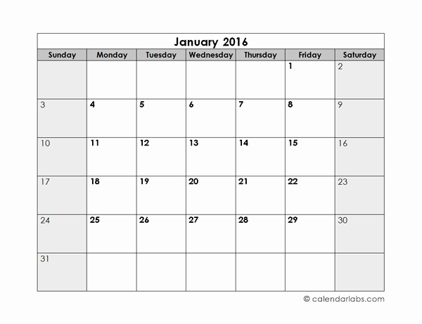 Blank Monthly Schedule Template Luxury 2016 Blank Monthly Calendar Free Printable Templates