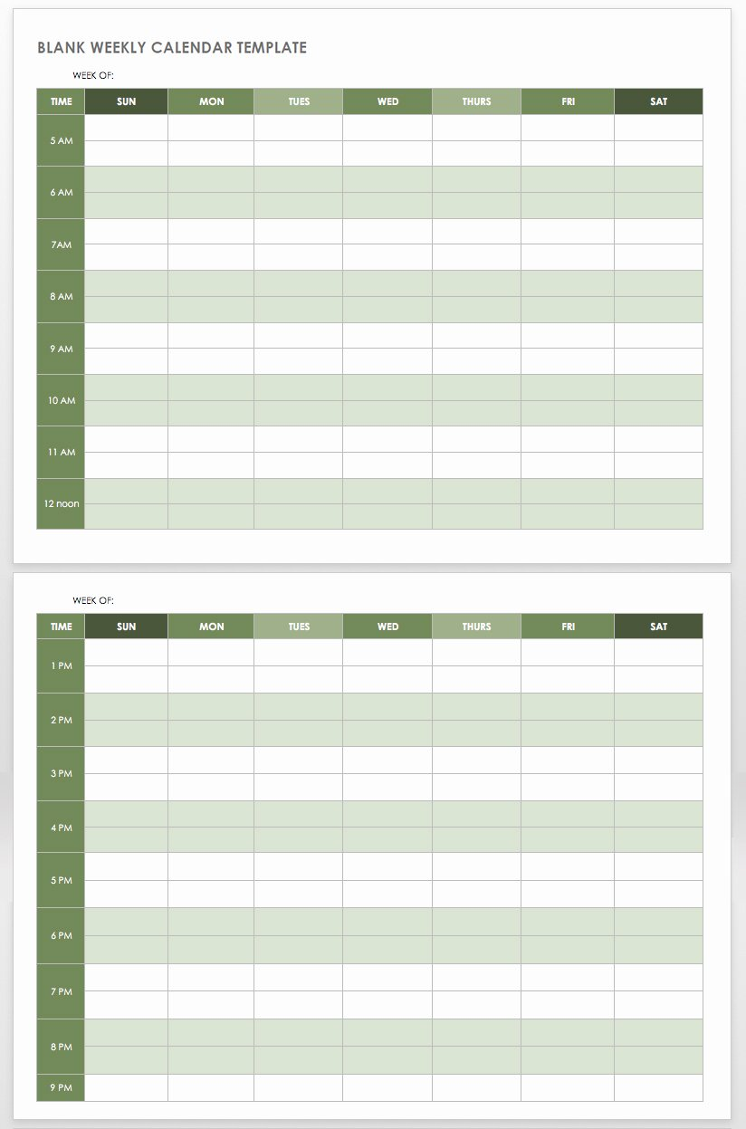 Blank Monthly Schedule Template Unique Free Printable Weekly Planner Template Word Pdf Excel