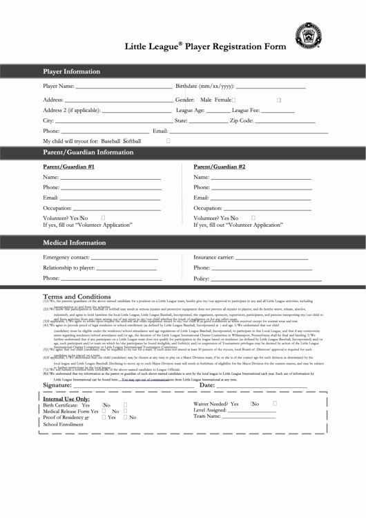 Blank Registration form Template Beautiful Fillable Little League Baseball Player Registration form