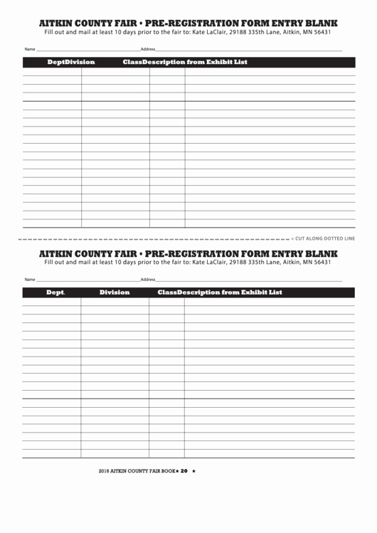 Blank Registration form Template Beautiful Pre Registration form Entry Blank Printable Pdf