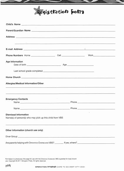 Blank Registration form Template Best Of Church Nursery forms thenurseries