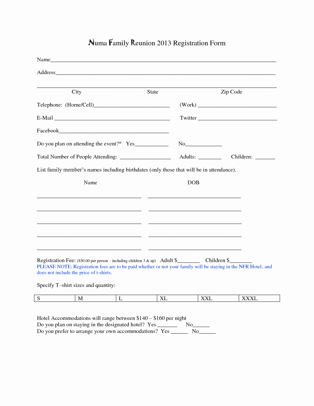 Blank Registration form Template Best Of Family Reunion Registration form Template