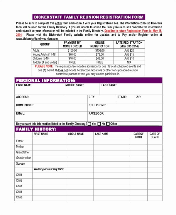 Blank Registration form Template Best Of Free 8 Sample Family Reunion Registration forms In Pdf