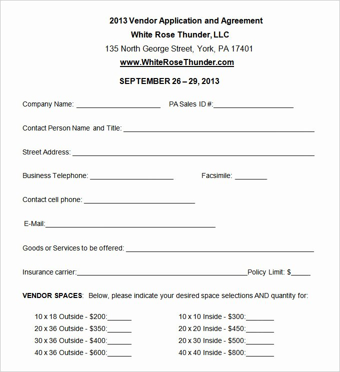 Blank Registration form Template Fresh Vendor Application Template – 12 Free Word Pdf Documents