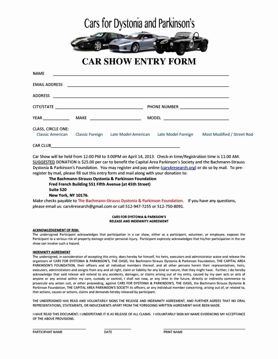 Blank Registration form Template New Free Car Show Registration form Template
