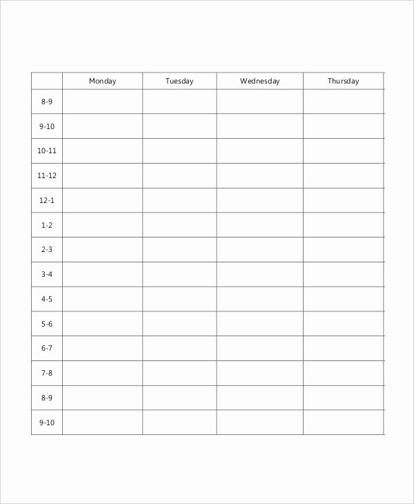 Blank School Schedule Template Best Of Blank School Schedule Template 8 Free Pdf Word format