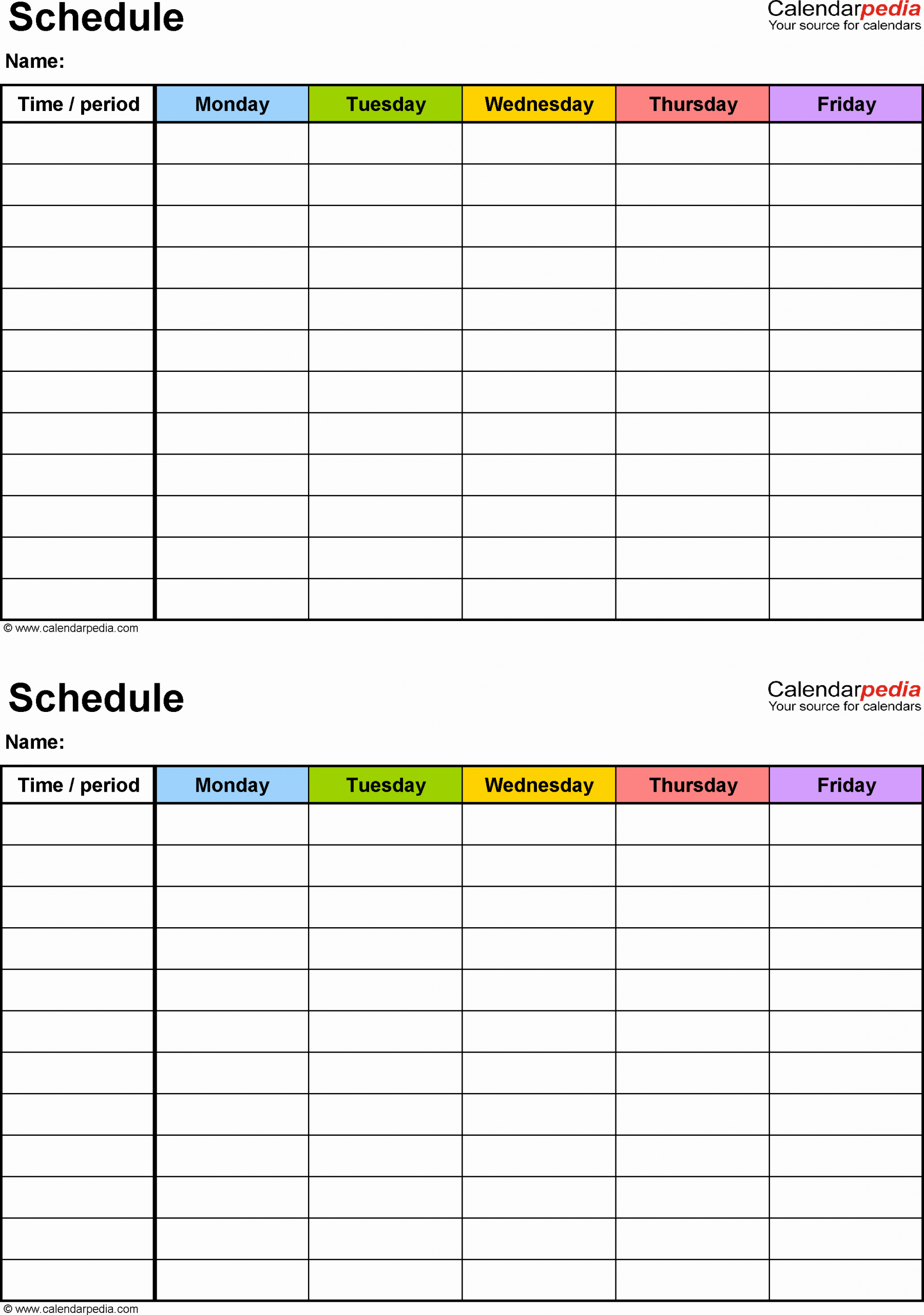 Blank School Schedule Template New Free Weekly Schedule Templates for Excel Blank Class