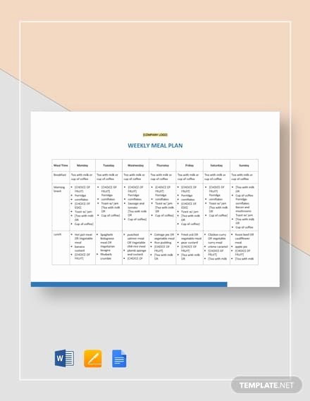 Bodybuilding Meal Planner Template Inspirational Free 9 Meal Plan Examples & Samples In Pdf