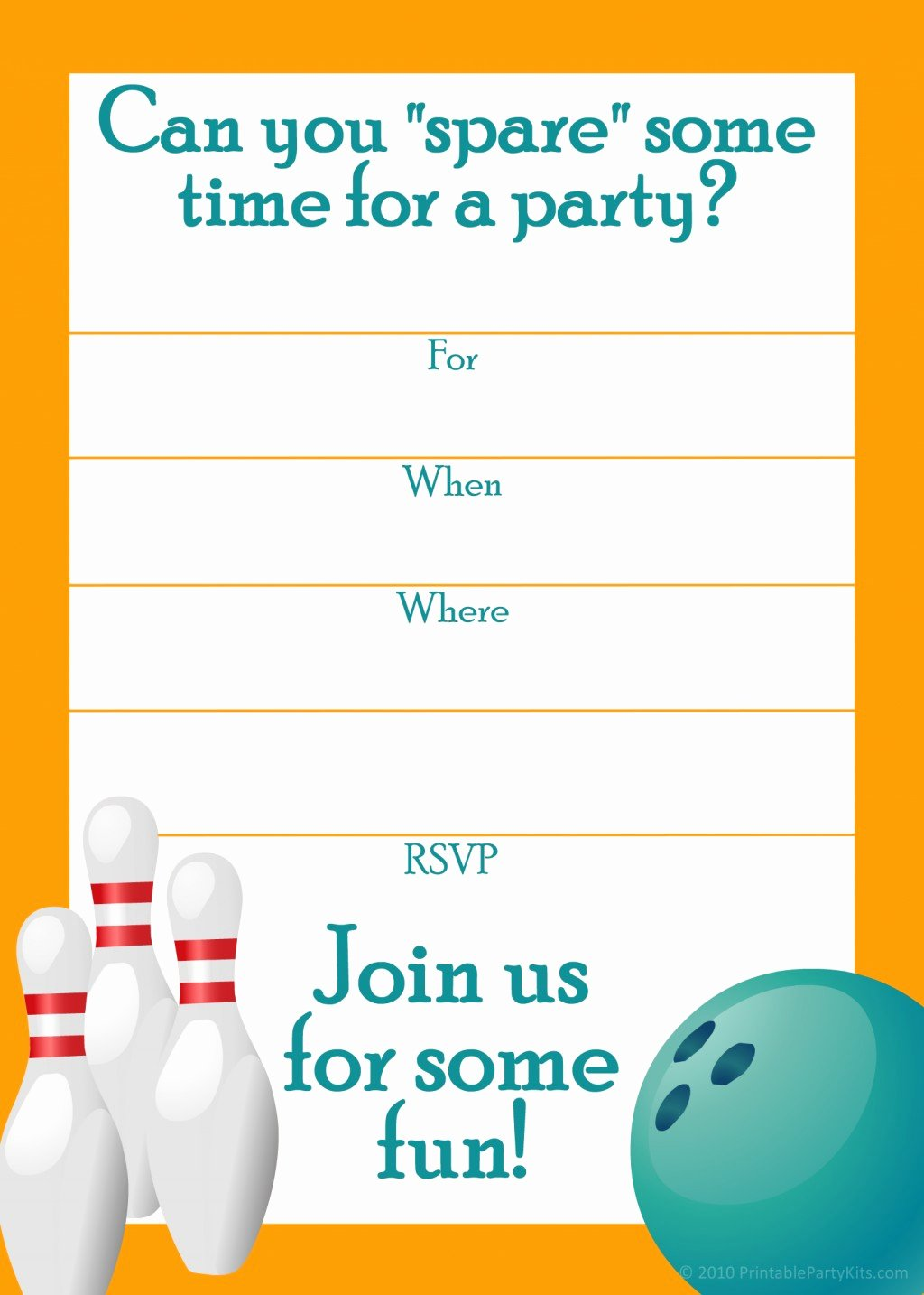 Bowling Invitations Free Template Awesome Bowling Party Blank Invitations