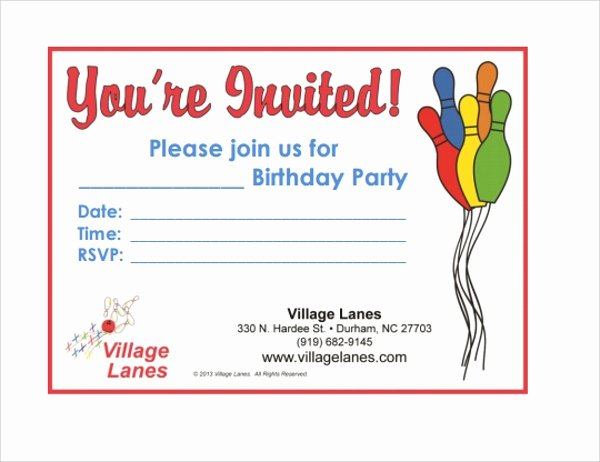 Bowling Invitations Free Template Awesome Sample Bowling Invitation Template 9 Free Documents