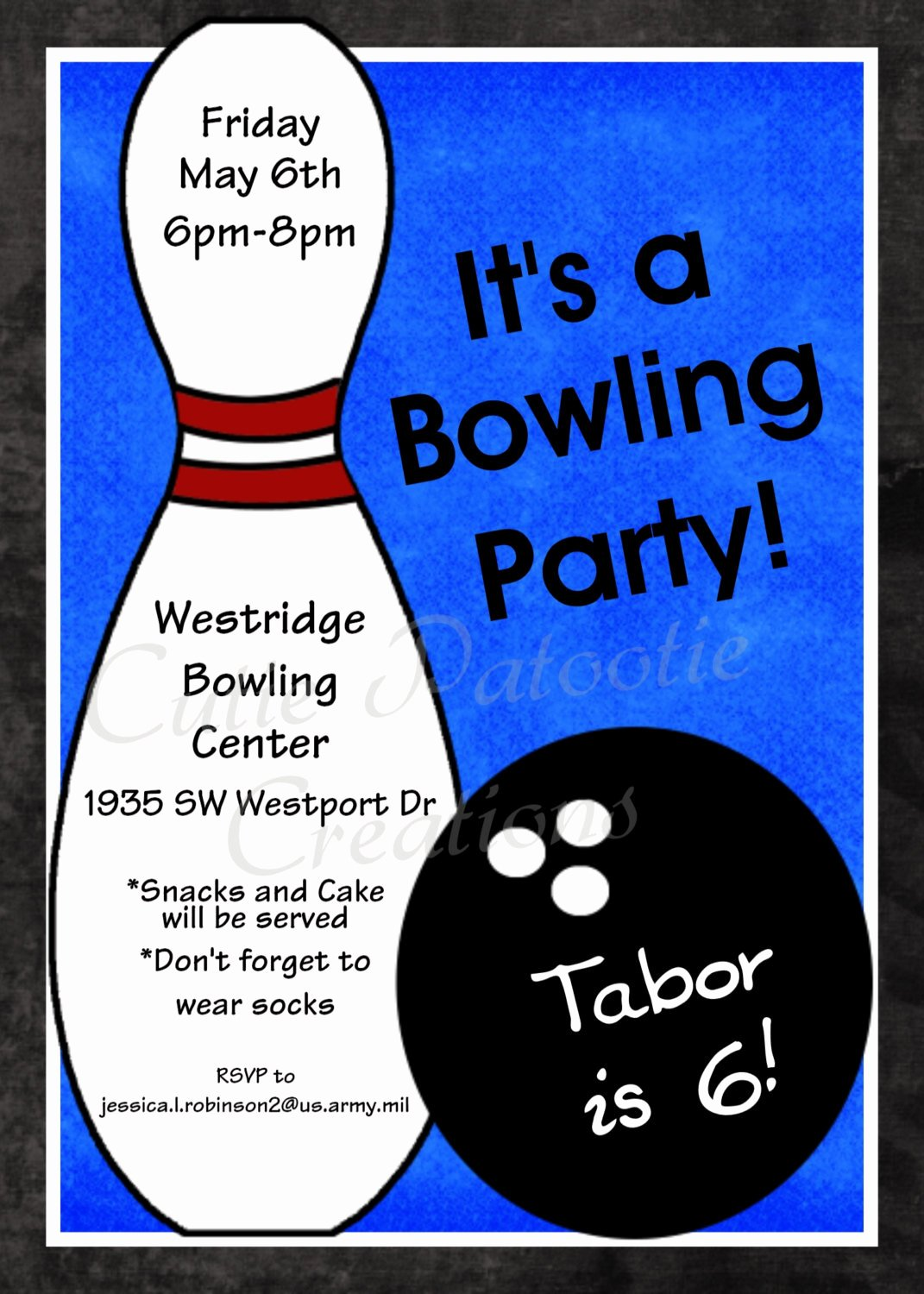 Bowling Invitations Free Template Elegant Bowling Birthday Invitation Printable or Printed Party Invite